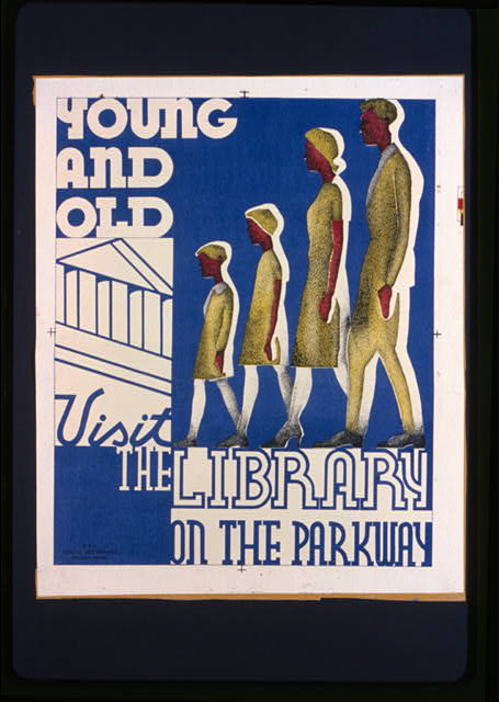 Young and old visit the library on the parkway