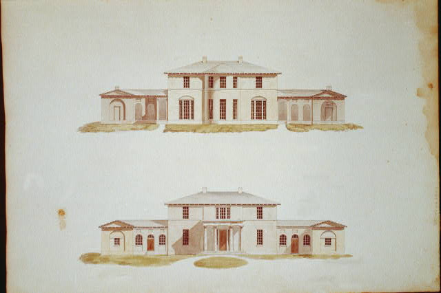 "[Houses and a church (""Buildings Erected or Proposed to be Built in Virginia""). Front and rear elevations]"