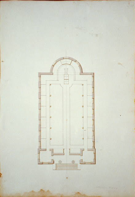 "[Houses and a church (""Buildings Erected or Proposed to be Built in Virginia""). Shockoe church - Floor plan]"