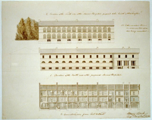 "[Asylum and hospital (""Marine Asylum & Hospital""), Washington, D.C. Elevations, section, hospital north wing]"