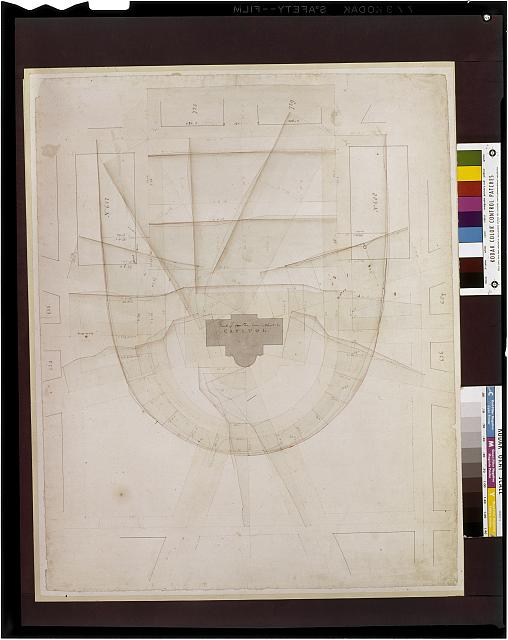 [United States Capitol, Washington, D.C. Topographical site plan with street layout and lot numbers]