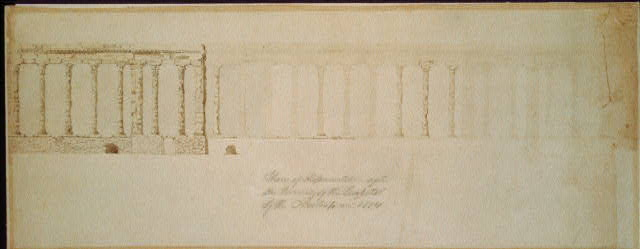 [United States Capitol, Washington, D.C. Elevation, colonnade, after burning of Capitol]