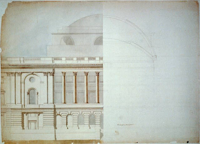 [United States Capitol, Washington, D.C. West front, partial elevation and section]