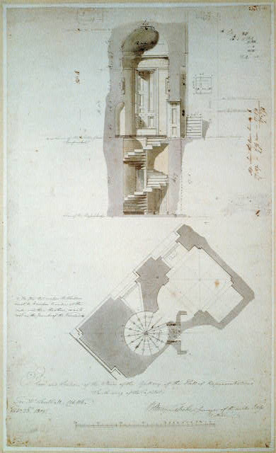 [United States Capitol, Washington, D.C. Plan & section, gallery stairs, House of Representatives, south wing]