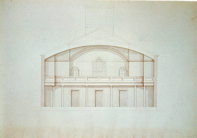 "[Church (""Unitarian Church""), D Street and 6th Street, Washington, D.C. Interior elevation of gallery, with organ]"