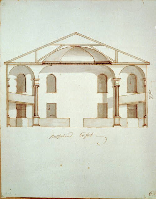 [Hollis Street Church, Boston, Mass. Interior sectional elevation of pulpit end]