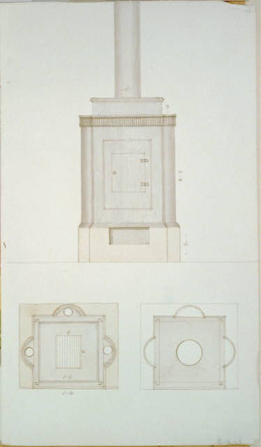 [Design drawing for a stove. Front and top]