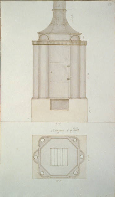 [Design drawing for a lotus pipe stove. Front and top]