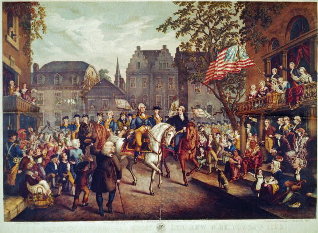 Washington's triumphal entry into New York, Nov. 25th, 1783