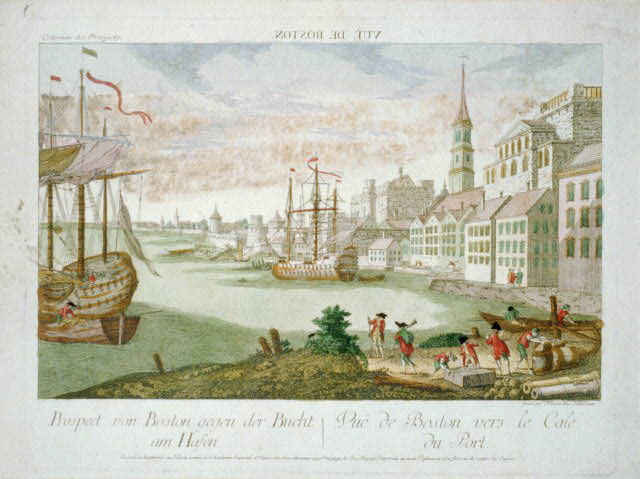 Vuë de Boston. Prospect von Boston gegen der Bucht am Hasen Vuë de Boston vers le Cale du Port /