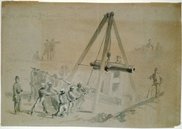 Negroes mounting Cannon in the works for the attack on Ft. Sumter 1861- Morris Island
