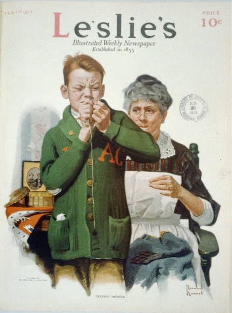 """""""Helping Mother"""" [young boy threading needle for his mother]"""