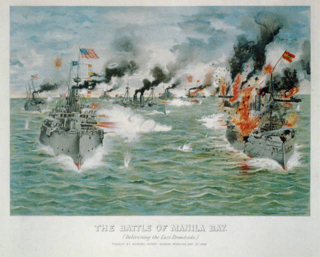 The battle of Manila Bay, (delivering the last broadside)