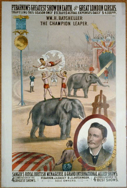 P.T. Barnum's greatest show on earth, and great London circus, Sanger's Royal British menagerie & grand international allied shows