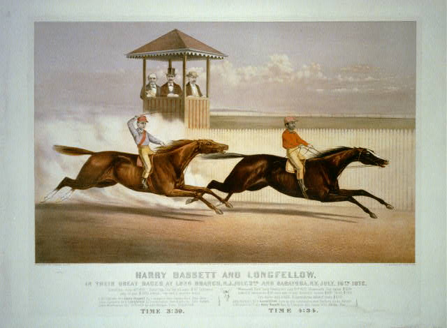 Harry Bassett and Longfellow in their great races at Long Branch, N.J., July 2nd and Saratoga, N.Y., July 16th 1872.