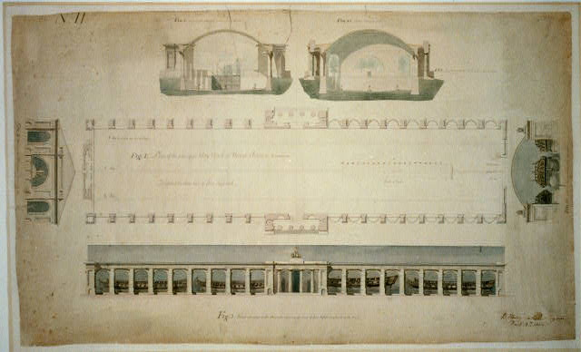 "[Navy yard (""Dry Dock and Naval Arsenal""), on the Anacostia River, Washington, D.C. Dry dock plan and arsenal elevation]"
