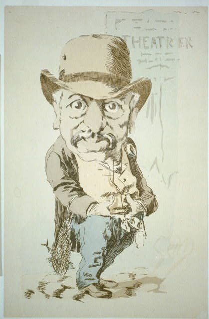 [Caricature of man with hands tucked in his pants standing outside theatrer (sic)]