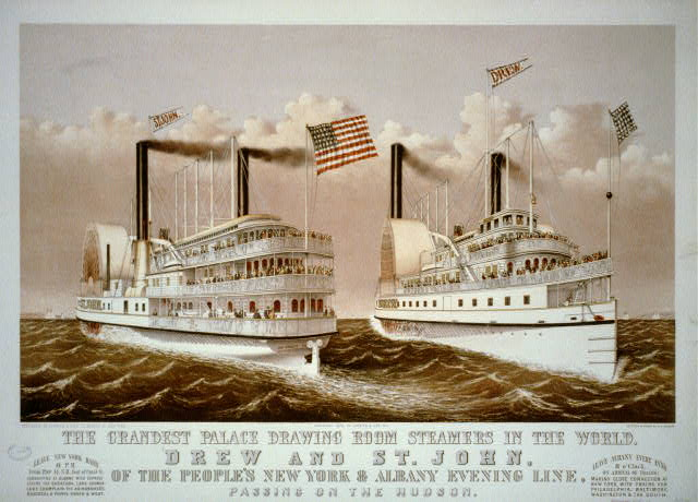 Grandest palace drawing room steamers in the world, Drew and St. John: of the people's New York & Albany evening line, passing on the Hudson