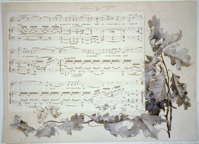 [Leaf border around musical notation for &quot;The Voice of the Sea&quot;]