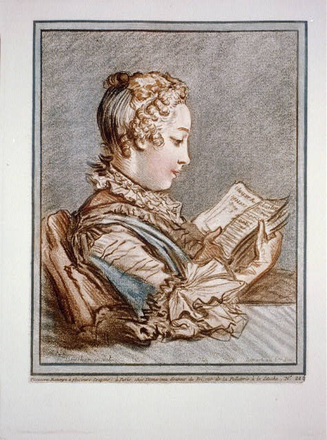 [Woman reading a book (Eloyse et Abailard)] / F. Boucher in del.; Demarteau...Scul.