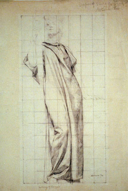 "[Clothed study for female figure of Architecture, for mural1. ""The Arts"" at the Library of Congress]"