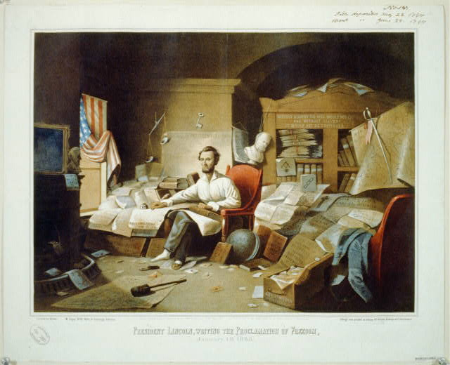 President Lincoln, writing the Proclamation of Freedom. January 1st, 1863