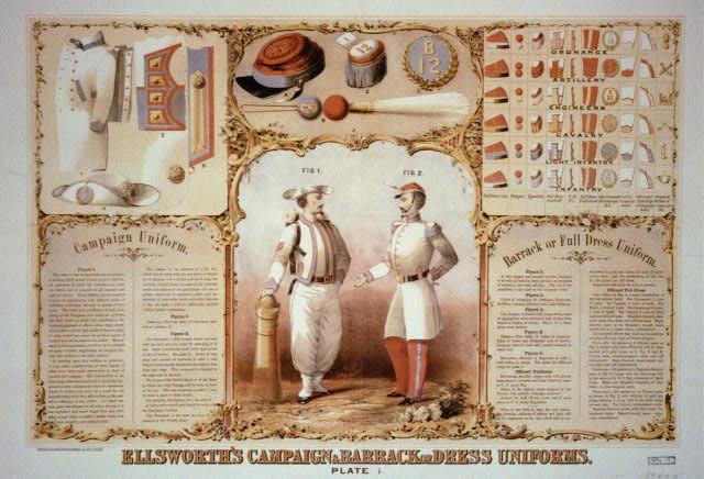 Ellsworth's campaign & barrack or dress uniforms. Plate 1