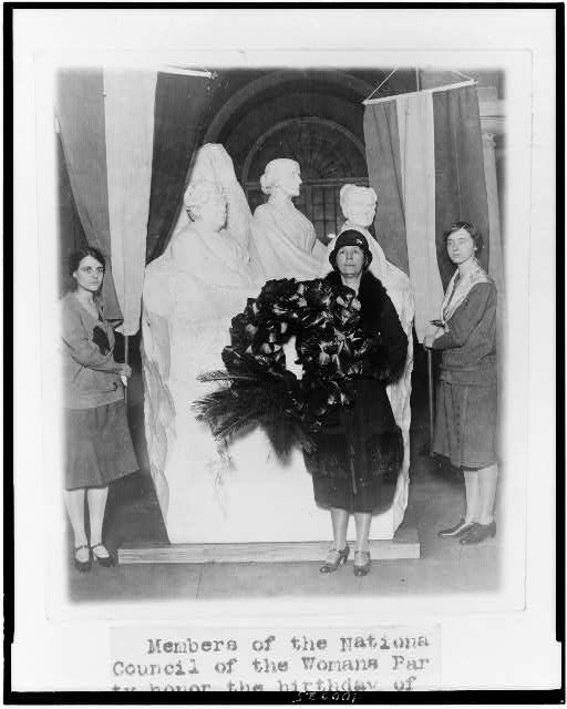 Members of the National Council of the Womans Party honor the birthday of Susan B. Anthony by placing a wreath on the statue in the U.S. Capitol