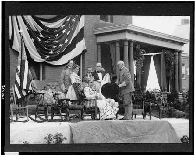 President and Mrs. McKinley on reviewing stand at Plattsburgh Barracks, N.Y.