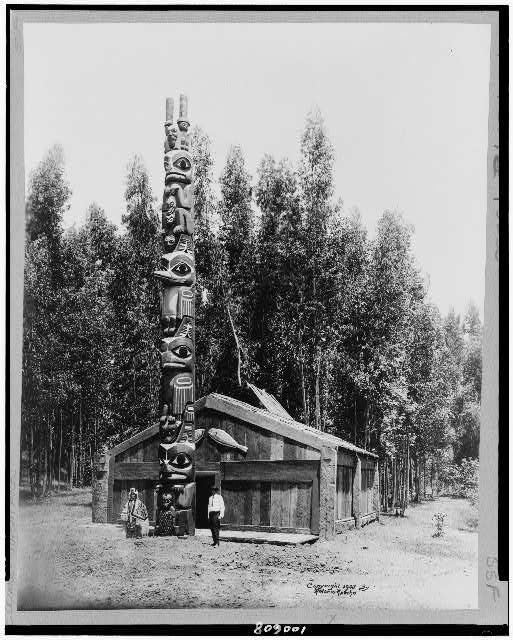 [Chief Sou-i-hat, Alaskan house and totem pole]