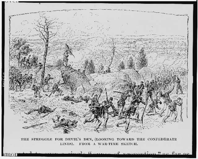The Struggle for Devil&#39;s Den, (looking toward the Confederate lines)