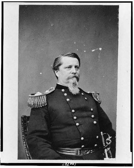 [Union general Winfield Scott Hancock, half-length portrait, seated, facing right, in uniform]