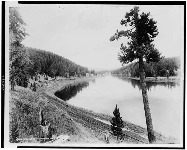 [Yellowstone River three miles from the Canyon Hotel, Yellowstone National Park, reached by the Northern Pacific Railway via Gardiner Gateway]