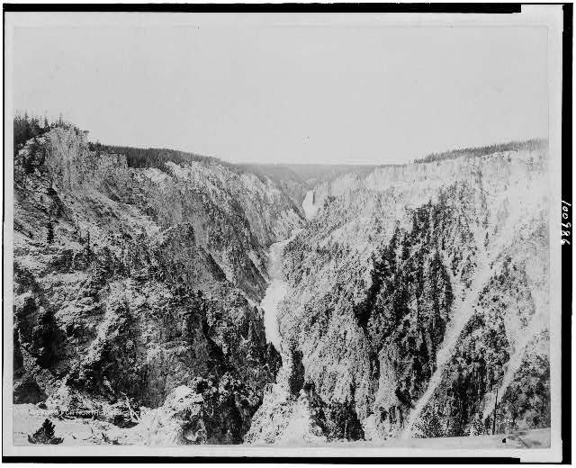 [The Grand Canyon and Great Fall of the Yellowstone River, Yellowstone National Park, reached by the Northern Pacific Railway via Gardiner Gateway]