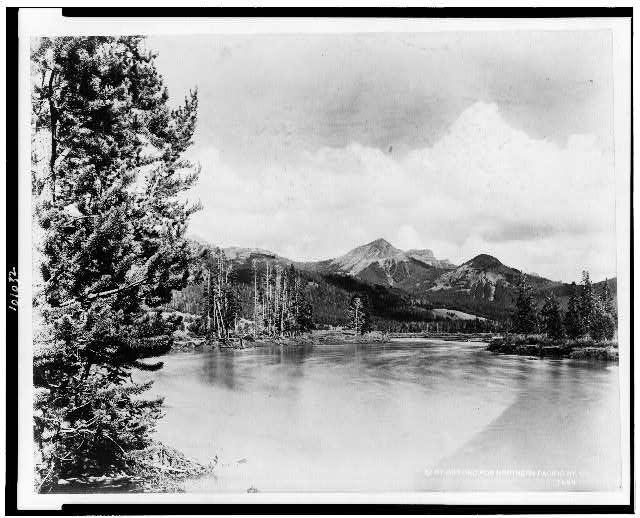 [The Absaroka Mountains and the Yellowstone River in Yellowstone National Park, reached by the Northern Pacific Railway via Gardiner Gateway]