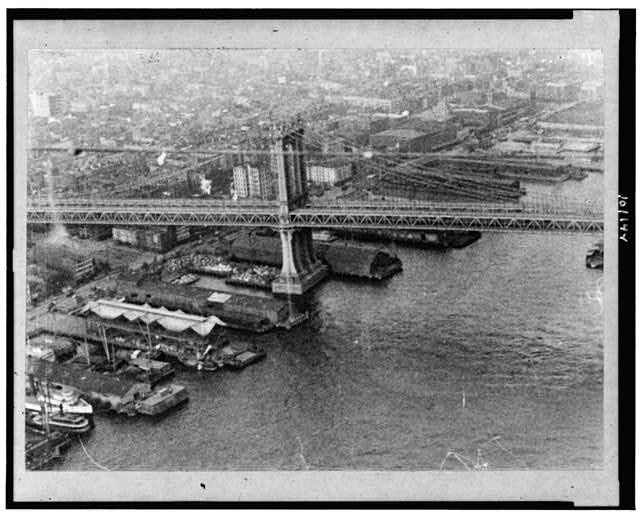 [Aerial view of Brooklyn Bridge]