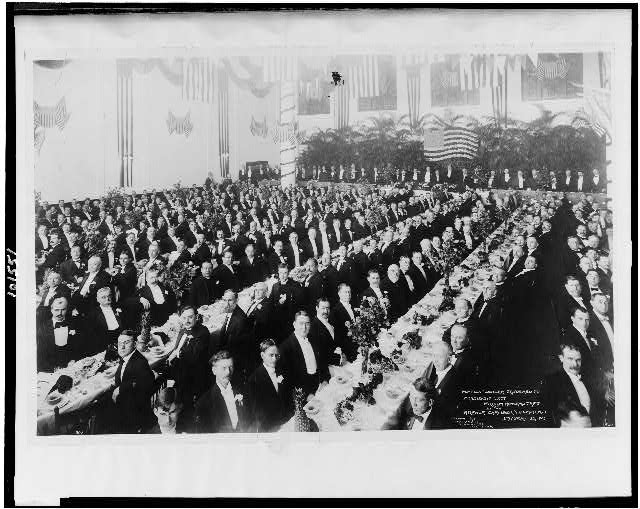 """Possum"" dinner tendered to President-elect William Howard Taft by the Atlanta Chamber of Commerce, January 15, 1909"