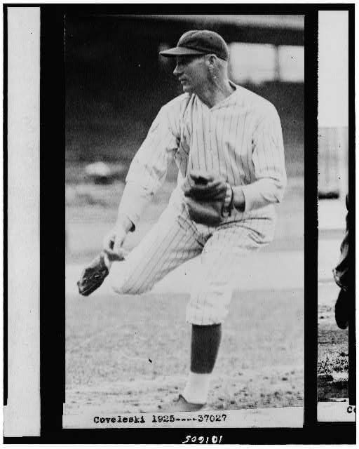 [Coveleski, of the Washington Nationals baseball club, throwing baseball]