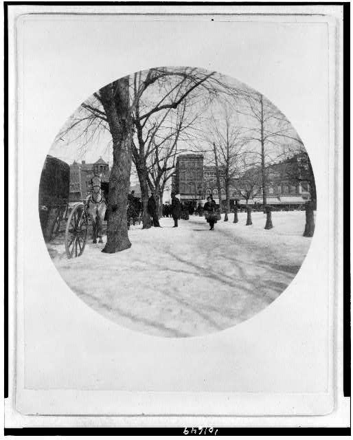 [Market scene, Washington, D.C., snow view]