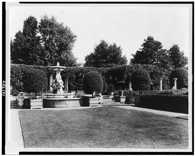 "[""Weld,"" Larz Anderson house, 151 Newton Street, Brookline, Massachusetts. Italian Garden, view from terrace to cupid fountain]"