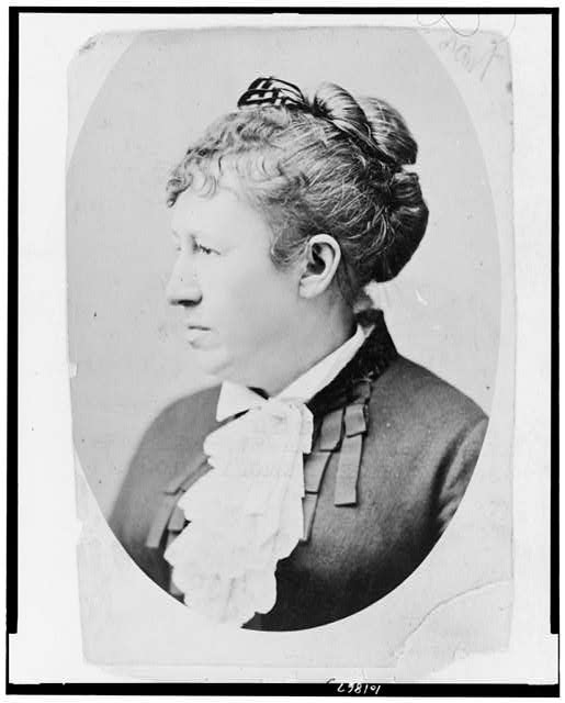 [Mrs. Ulysses S. Grant (Julia Dent Grant), head-and-shoulders portrait, facing left]