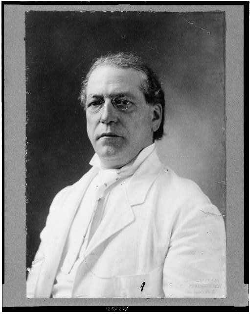 [Samuel Gompers, half-length portrait, facing slightly left, wearing white suit]