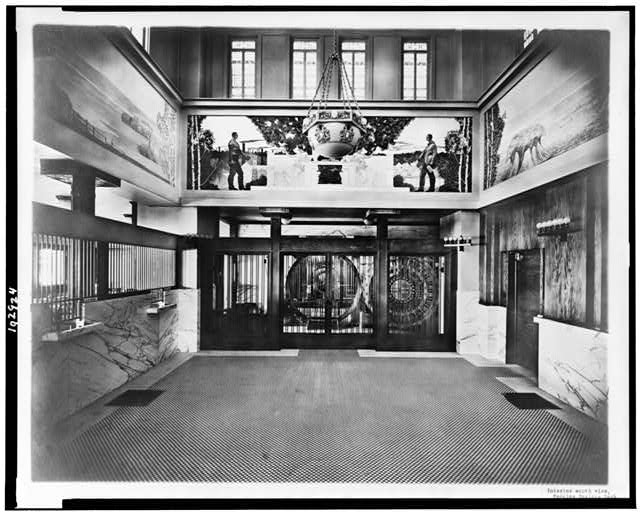 Interior south view, Peoples Savings Bank, Cedar Rapids, Iowa