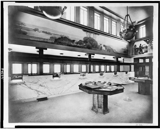 [Interior east view, Peoples Savings Bank, Cedar Rapids, Iowa]