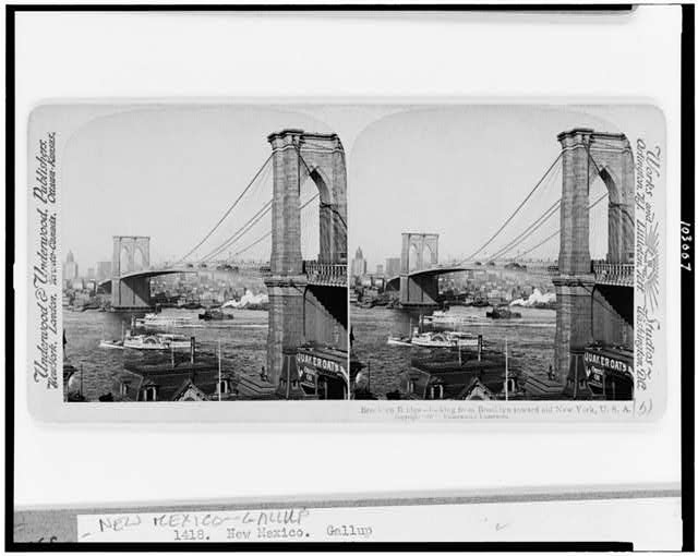 Brooklyn Bridge--looking from Brooklyn toward old New York, U.S.A.