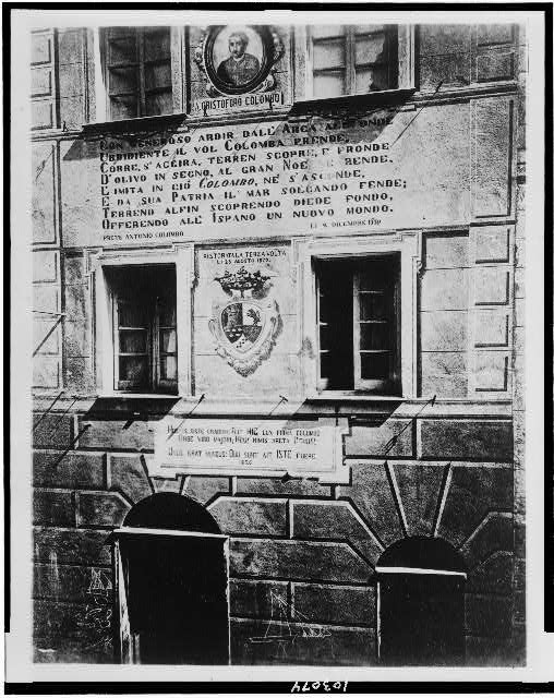Inscription on the house in which Columbus is believed to have been born