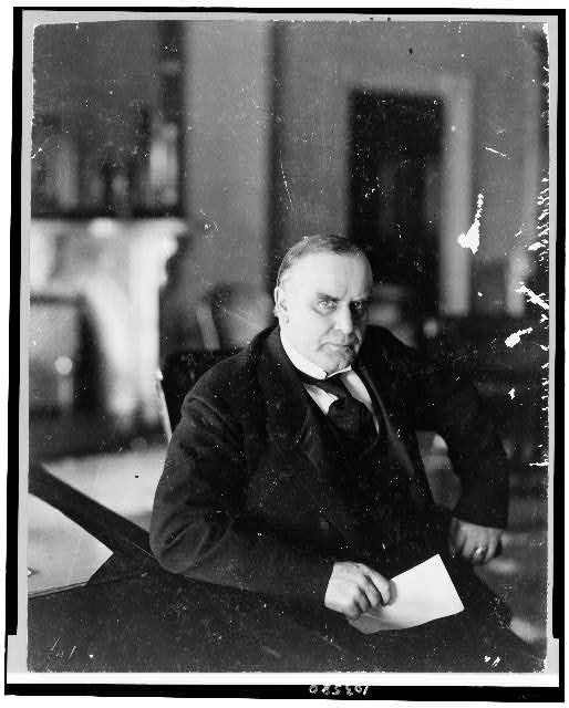 [William McKinley, half-length portrait, seated at desk, facing right]