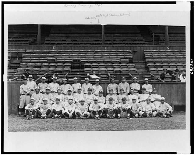 [Yankees at New Orleans, posed in front of bleachers, spring training, Babe Ruth in center]
