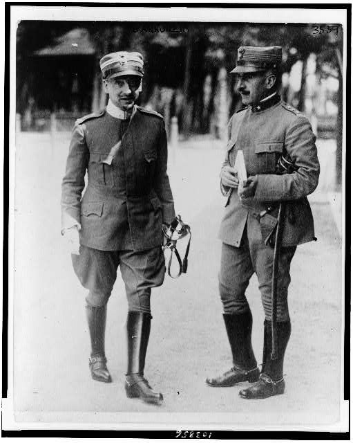 [Gabriele D'Annunzio, full-length portrait, standing, facing slightly right, with another officer]