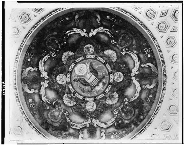 [Mural by Elmer E. Garnsey, with U.S. seal, on ceiling of the Library of Congress, Washington, D.C.]